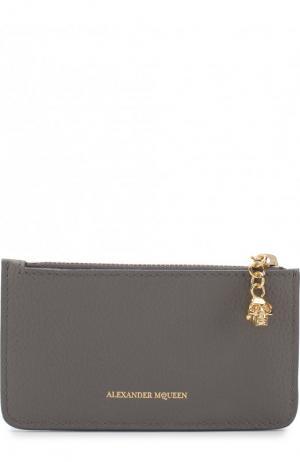Кожаный футляр для кредитных карт с отделением на молнии Alexander McQueen. Цвет: серый