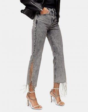 Серые джинсы прямого кроя со стразами на нижней кромке -Серый Topshop