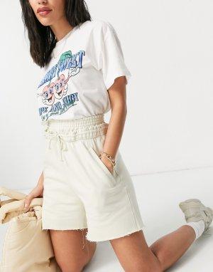 Кремовые шорты без застежки, окрашенные красками растительного происхождения Ada-Белый Weekday