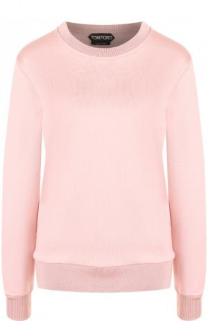 Однотонный пуловер из смеси хлопка и шелка Tom Ford. Цвет: розовый