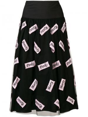 Плиссированная юбка миди Pinko. Цвет: черный