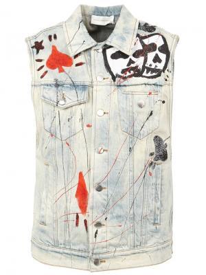 Декорированная джинсовая куртка без рукавов Faith Connexion. Цвет: синий