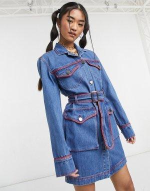 Джинсовое платье мини синего цвета в стиле вестерн House Of Holland-Голубой Holland