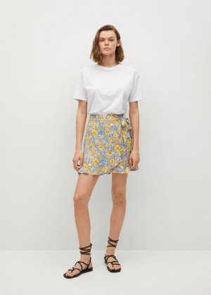 Мини-юбка с запáхом и цветами - Delfos Mango. Цвет: синий