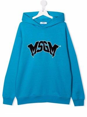 TEEN logo-print pullover hoodie MSGM Kids. Цвет: синий