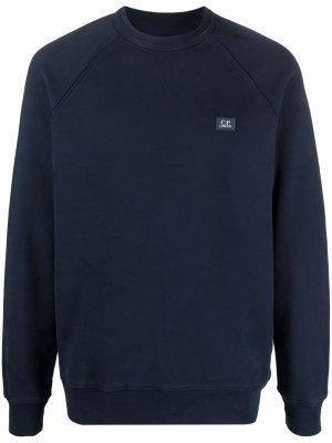 Logo-patch cotton sweatshirt C.P. Company. Цвет: синий