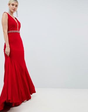 Платье макси с декорированной талией -Красный Jovani