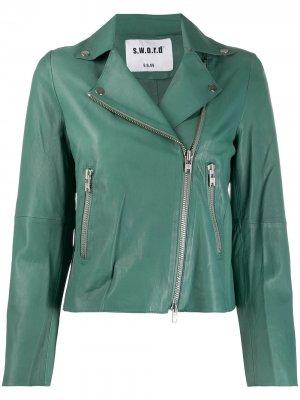 Байкерская куртка на молнии S.W.O.R.D 6.6.44. Цвет: зеленый