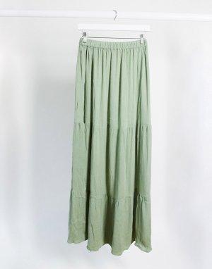 Ярусная пляжная юбка макси цвета хаки от комплекта -Зеленый ASOS DESIGN