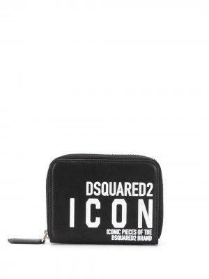 Кошелек с логотипом Dsquared2. Цвет: черный