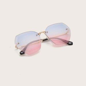 Солнечные очки без оправы с футляром для девочек SHEIN. Цвет: синий