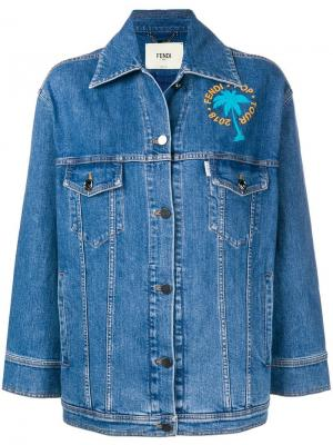 Джинсовая куртка с декором Fendi. Цвет: синий