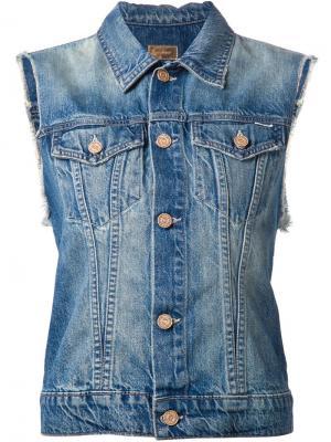 Джинсовая куртка без рукавов с контрастной вставкой Mother. Цвет: синий