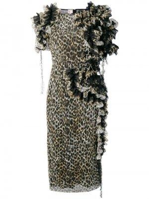 Платье с леопардовым принтом и оборками Antonio Marras. Цвет: черный