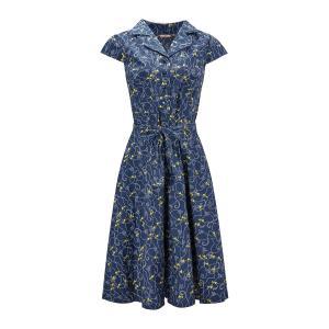 Платье расклешенное с рубашечным воротником и цветочным рисунком JOE BROWNS. Цвет: синий/рисунок