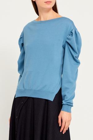 Шерстяной пуловер с объемными рукавами Nina Ricci. Цвет: синий