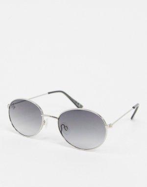 Серебристые солнцезащитные очки в круглой оправе -Серебристый Jeepers Peepers