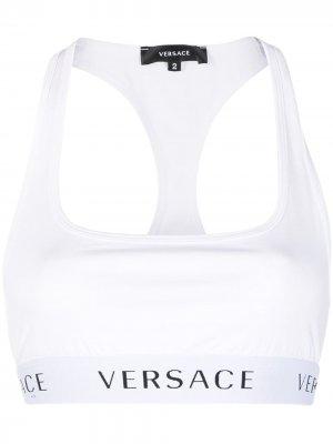 Спортивный бюстгальтер с логотипом Versace. Цвет: белый