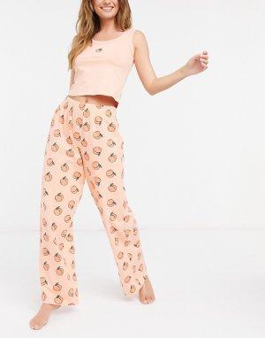Пижама из майки-топа и брюк персикового цвета с принтом -Розовый Skinnydip