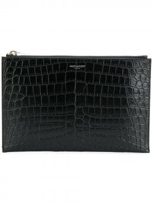 Мини-чехол для iPad с эффектом крокодиловой кожи Saint Laurent. Цвет: черный