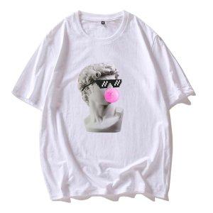 Мужская футболка с короткими рукавами и статуэткой SHEIN. Цвет: белый