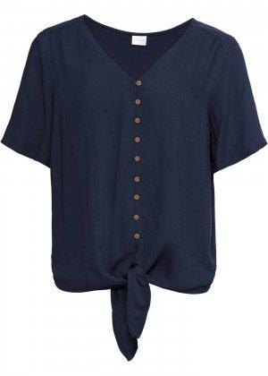 Блузка с лентами для завязывания bonprix. Цвет: синий