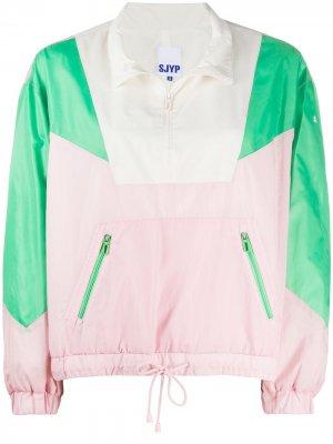 Куртка-пуловер в стиле колор-блок SJYP. Цвет: розовый