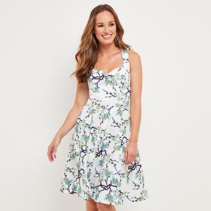 Платье расклешенное с цветочным рисунком JOE BROWNS. Цвет: белый наб.рисунок