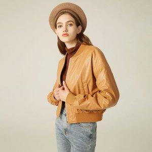 Куртка бомбер из искусственной кожи SHEIN. Цвет: коричневые
