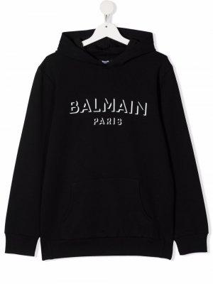 TEEN logo-print cotton hoodie Balmain Kids. Цвет: черный