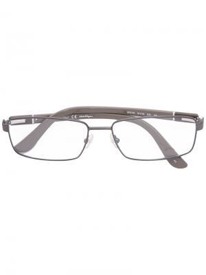Очки в прямоугольной оправе Salvatore Ferragamo Eyewear. Цвет: бежевый