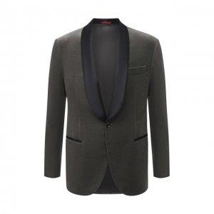 Хлопковый пиджак Brunello Cucinelli. Цвет: серый