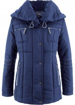 Стеганая куртка с большим воротником bonprix. Цвет: синий