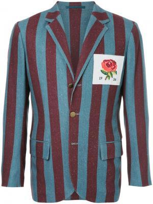 Полосатый блейзер с заплаткой розой Kent & Curwen. Цвет: синий
