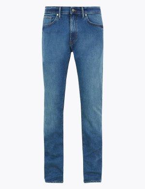 Зауженные мужские джинсы M&S Collection. Цвет: синий микс