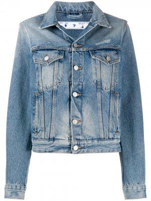 Укороченная джинсовая куртка с вышитым логотипом Off-White. Цвет: синий