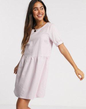 Фактурное свободное платье -Розовый цвет Ichi