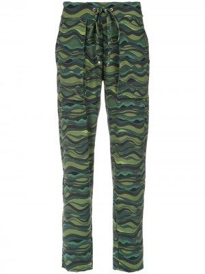 Wave print drawstring pants Amir Slama. Цвет: зеленый