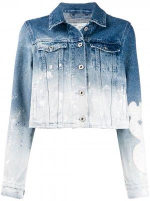 Джинсовая куртка с выбеленным эффектом Off-White. Цвет: синий