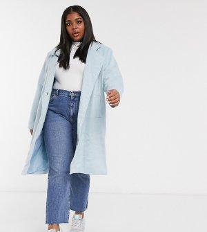 Приталенное пальто пастельной расцветки Wednesdays Girl Curve-Синий Wednesday's Curve