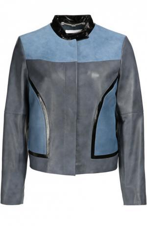 Кожаная куртка прямого кроя с контрастной отделкой Escada Sport. Цвет: синий