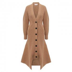 Пальто из шерсти и кашемира Alexander McQueen. Цвет: бежевый