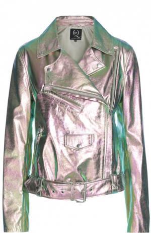 Кожаная куртка MCQ. Цвет: золотой