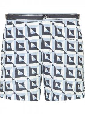 Плавки-шорты с принтом Majolica и кулиской Dolce & Gabbana. Цвет: синий