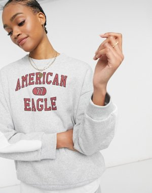 Серый свитер с логотипом American Eagle