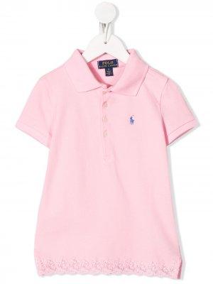 Рубашка-поло с кружевной отделкой Ralph Lauren Kids. Цвет: розовый