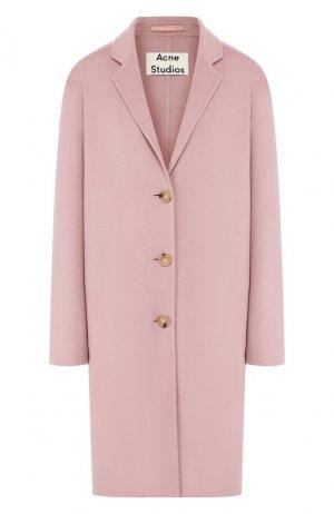 Шерстяное пальто Acne Studios. Цвет: розовый