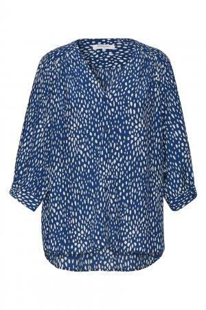 Блузка цвета индиго с белым принтом Gerard Darel. Цвет: синий
