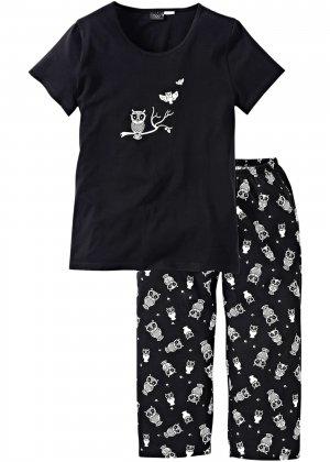 Пижама с брюками капри bonprix. Цвет: черный