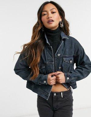 Темно-синяя выбеленная джинсовая куртка -Голубой American Eagle